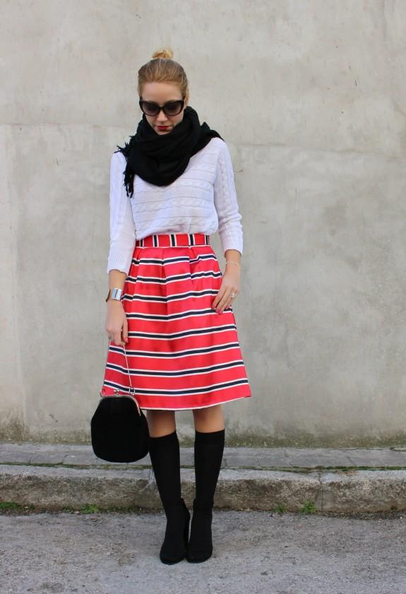 rayas red stripes rojo falda mimdi skirt