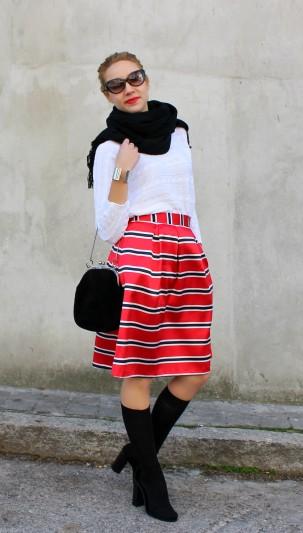 rayas falda verano midi winter look ootd scarf