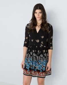 bershka cute dress floreado flower hippy 70