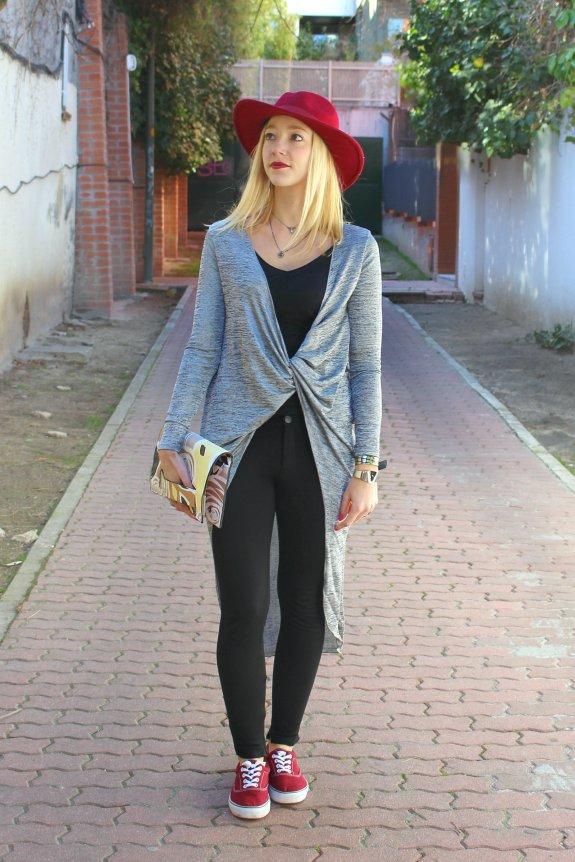 knot plateado chaqueta streetstyle silver fedora hat zara leggings cartera mano