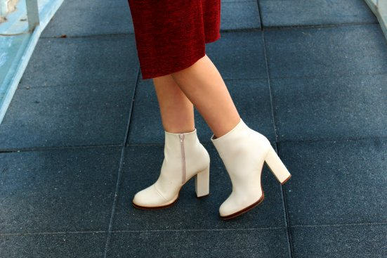 ankle boots white botines blancos piel leather Zara heels