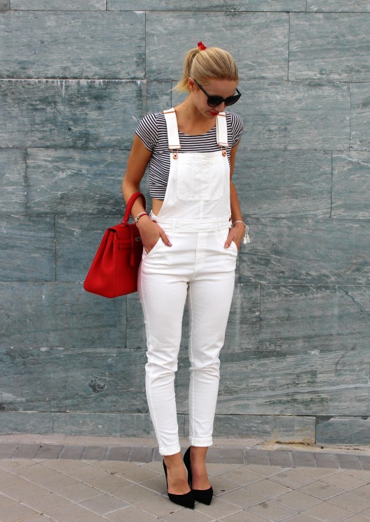 dungaree peto white stripes kelly bag red