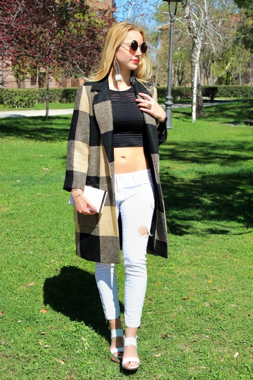 crop top coat beige clutch rigid white blanco zara
