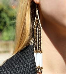 pendientes largos xxl earrings cuentas beads gold