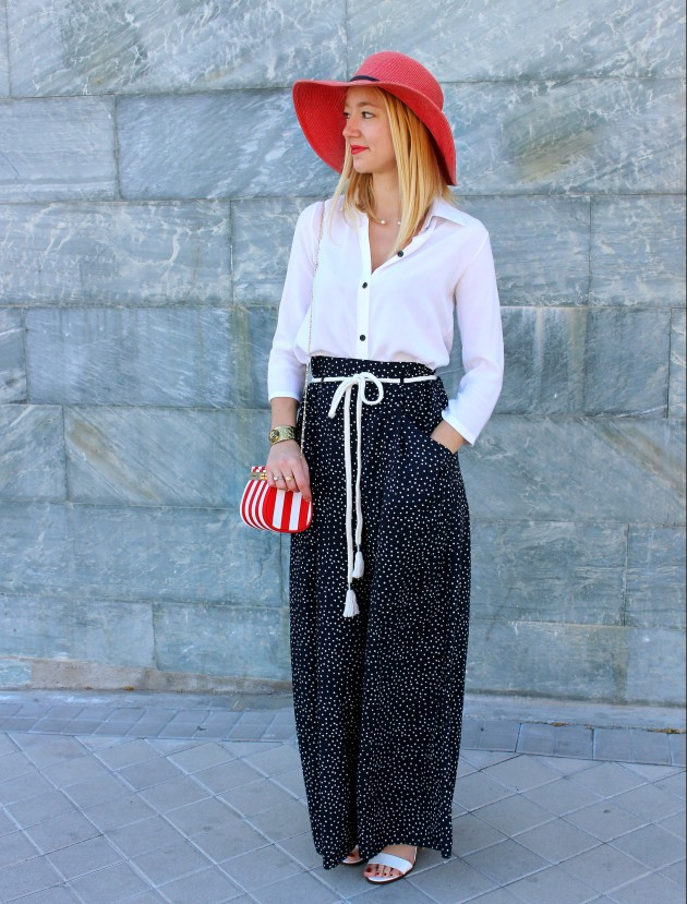 palazzo pants pantalones summer pamela hat blouse navy stripes red