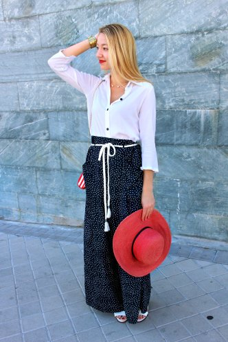 streestyle summer verano 2015 new hat palazzo polka dots gold blouse white red navy beach