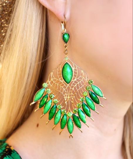 earrings summer green gems pendientes gemas verano verde
