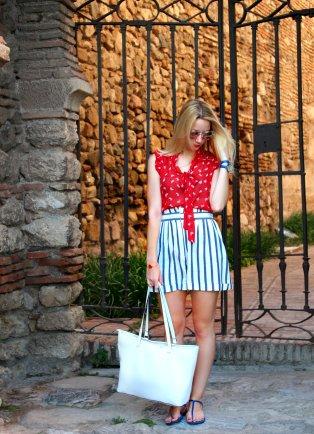 red rojo blusa streetstyle 2015 mango zara shorts trendy