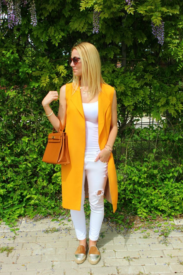 orange tangerine vest chaleco tendencias 2015 trends
