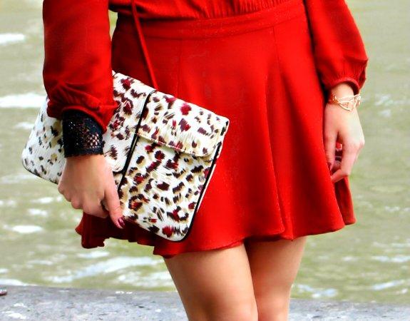 leopard pattern bag clutch cartera leopardo red bracelets