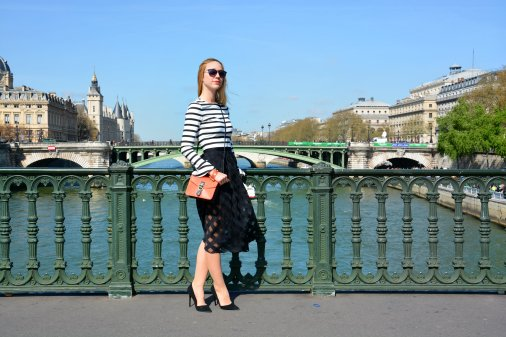french pont notre dame stripes rayas falda midi