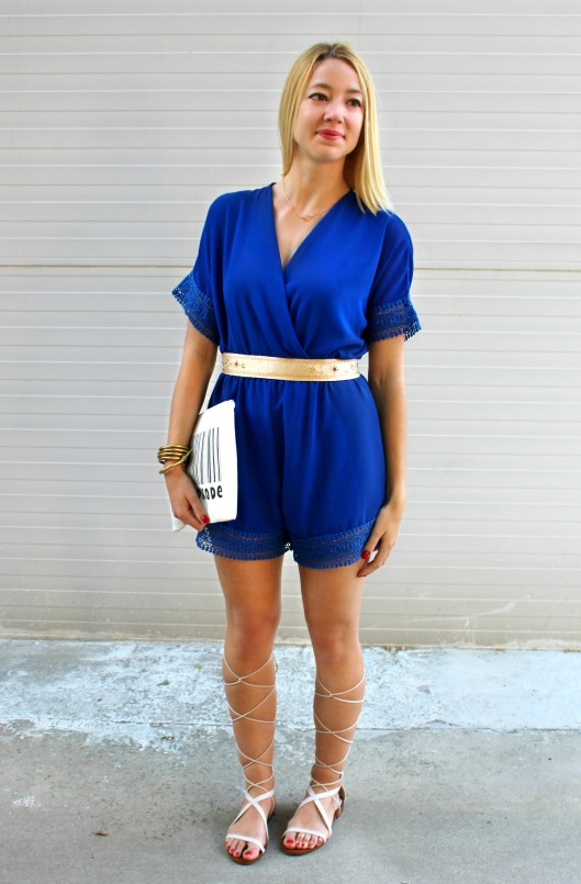 wiw ootd playsuit jumpsuit mono azul blue overall clutch belt