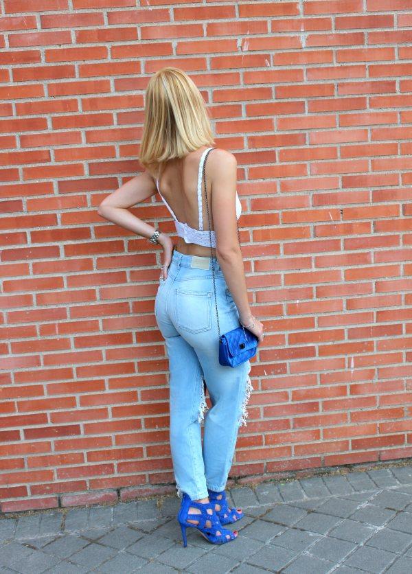 back jeans open butt ass streetstyle look outfit high waist crop top