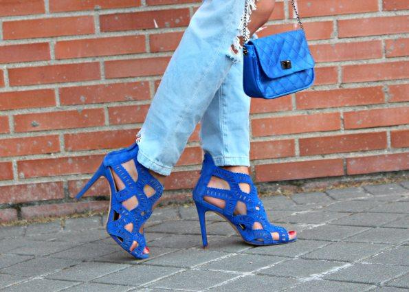 sandals troqueladas sandalias azul electrico diecut clutch heels tacones streetstyle