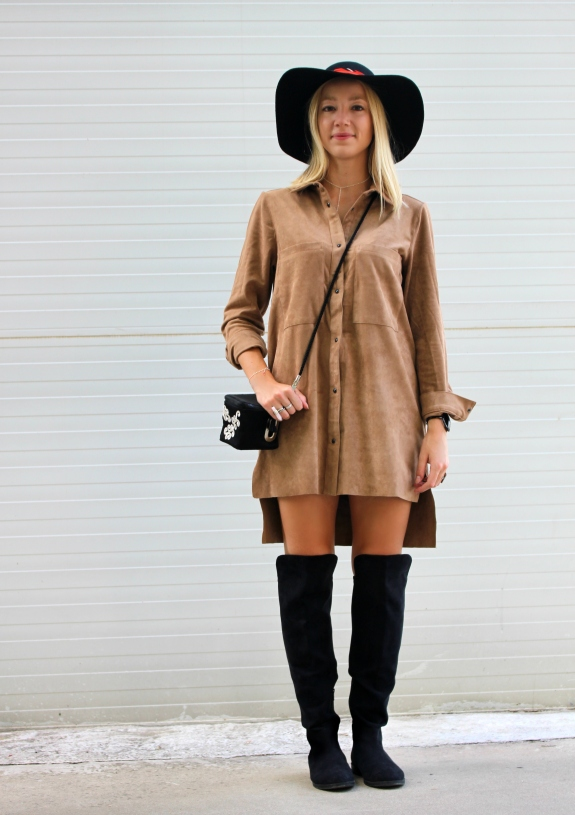 outfit mini dress suede brown ante marron vestido camisero shirt boots high tigh