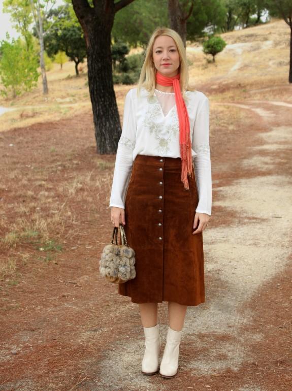 70's setetntera button up abotonada falda ante suede brown marron midi