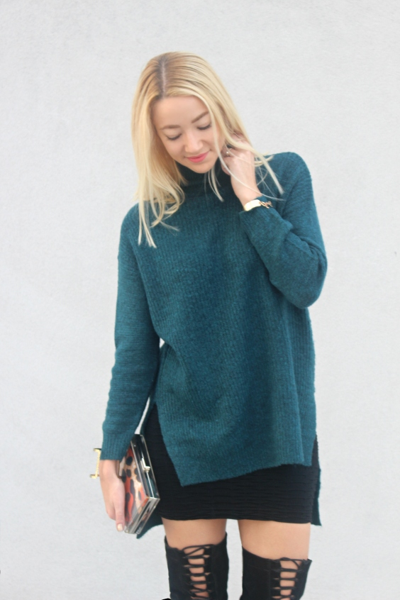 wool jumper jersey lana azul cuello alto turtle neck streetstyle blogger how style