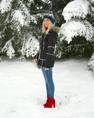 aspen furry ootd winter snow heels red coat