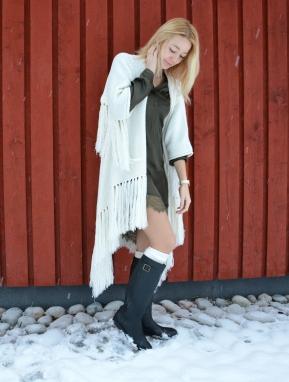 fashion lace green boots hunter wool kimono folk