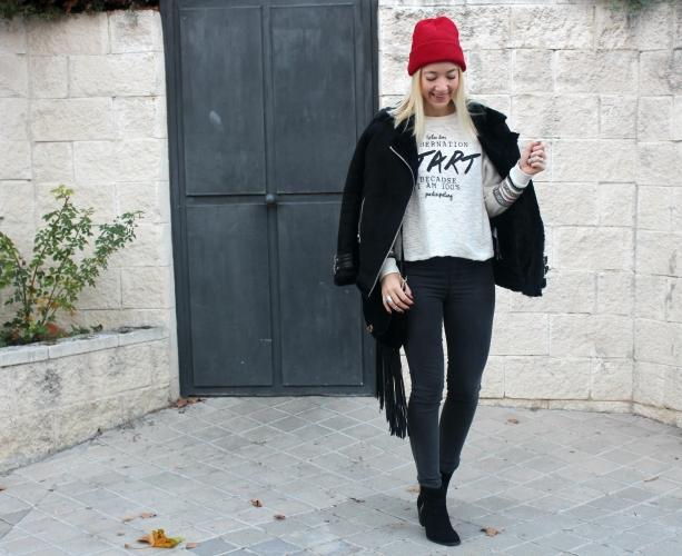happy blogger fashion streetstyle winter trends what wear black negro chaqueta aviador