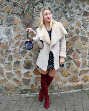 thigh boots red winter trends cool outfit fashion blogger style folk dress mini