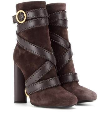 tom ford streetstyle bloggers suede browm leather trendy stylish booties ankle boots winter