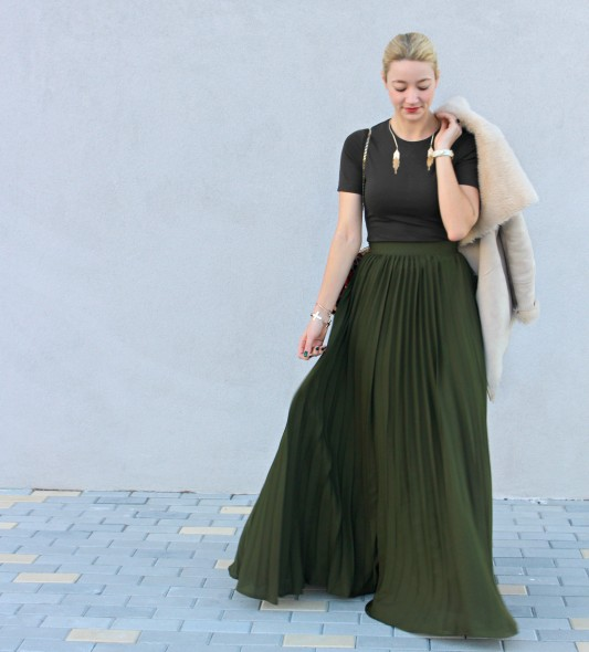 fashionblogger military green trends spring 2016 summer outfit maxi skirt