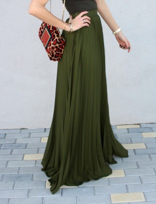 amazing long skirt maxi falda pleated plisada verde military silk