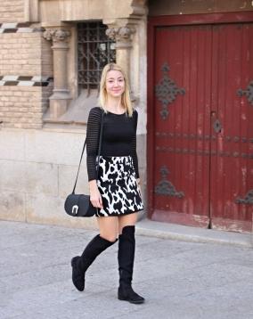 streetstyle cow pattern print estampado vaca falda mini skirtfashionblogger
