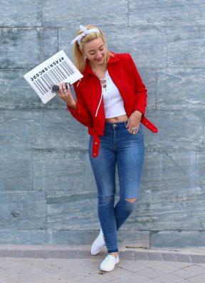 cargo jacket red rojo chaqueta spring primavera jeans 90s fashionblogger