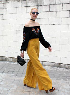 mules flowers bardot black shirt beautiful fashionblogger style