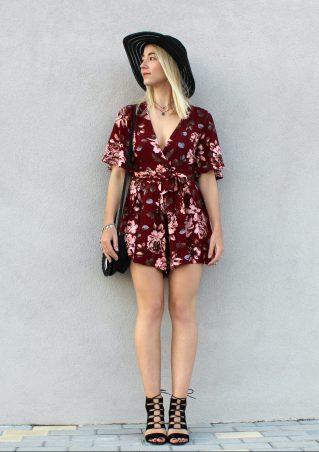 sun hat black floral red romper rojo mono tendencias estilo